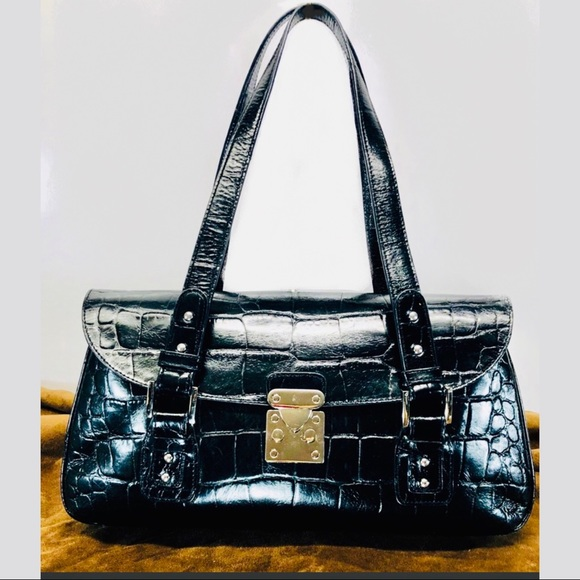 Nordstrom Handbags - 👛$25 Nordstrom Black Leather Croc Satchel